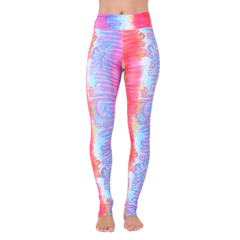Extra Long Patterned Yoga Legging Rainbow Paisley