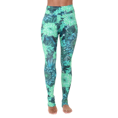 Extra Long Patterned Yoga Legging Green Gillyflower
