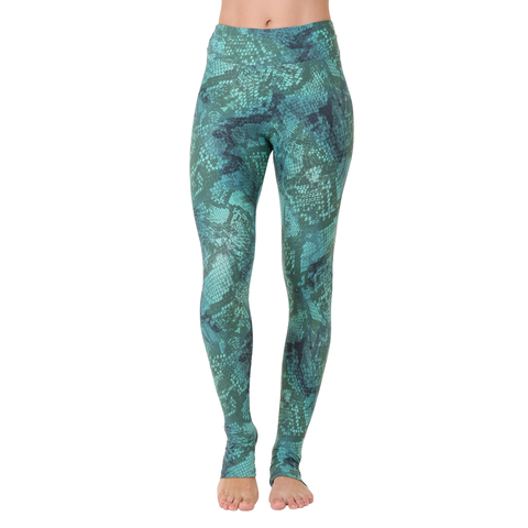 Extra Long Patterned Legging Green Python