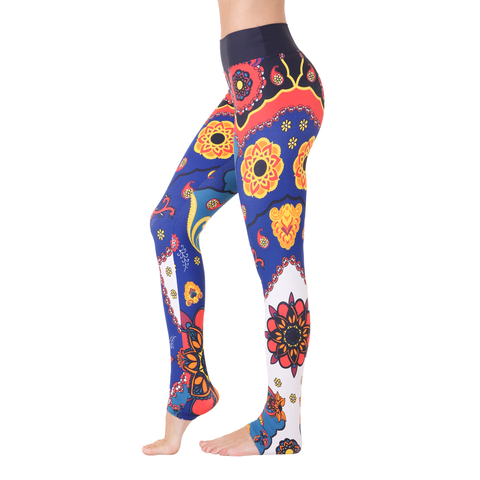 Extra Long Patterned Legging Matryoshka Doll Deep in Blue