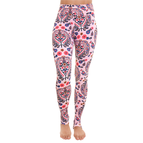 Extra Long Patterned Yoga Legging Pink Blossom