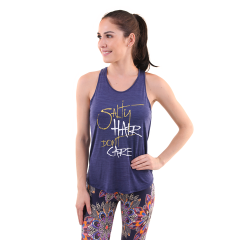 Salty Hair, Don't Care Raindrop Tank Navy (Final Sale)