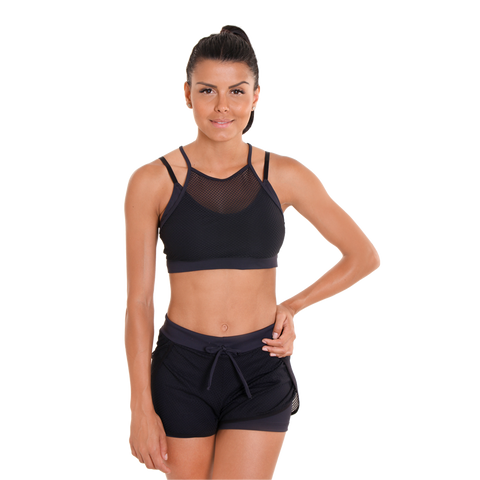 Bee Hive Bra Black