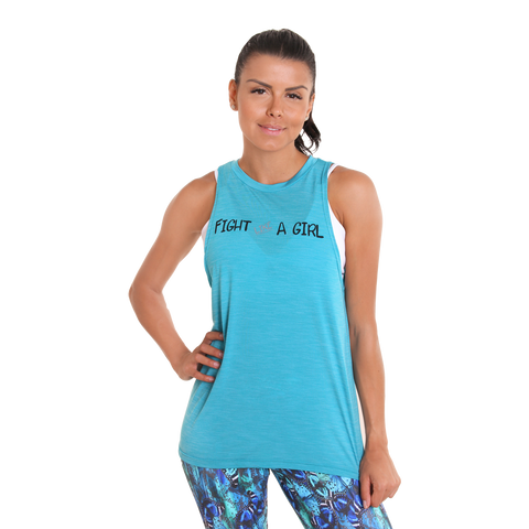 Fight Like a Girl Muscle Tank III Blue Sky