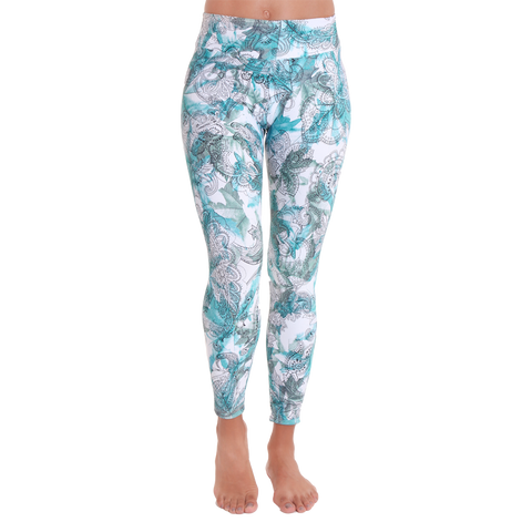 Patterned Yoga Legging Stamped in Green