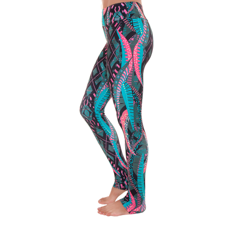 Extra Long Patterned Yoga Legging Psychodelic