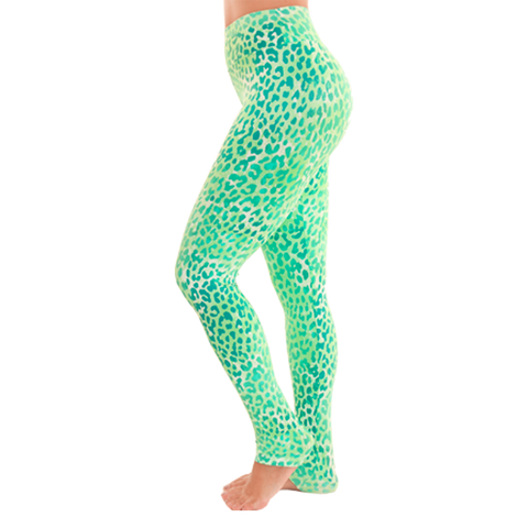 Extra Long Patterned Yoga Legging Green Leopard