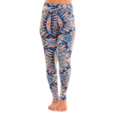 Extra Long Patterned Yoga Legging Tribe at Night