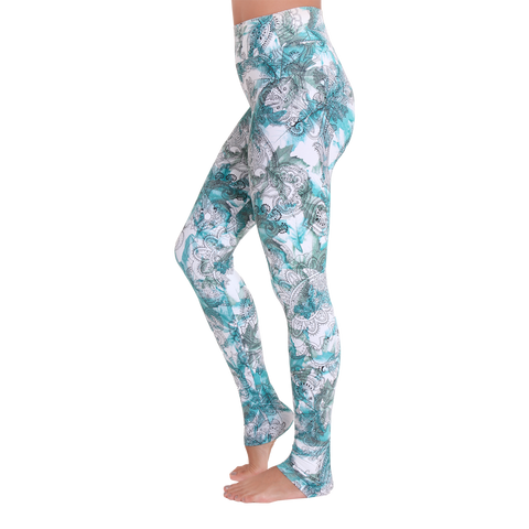 Extra Long Patterned Yoga Legging Stamped in Green