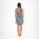 Patterned Shoulder Dress - Morocco Blue (Final Sale)