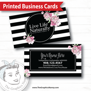 Business Card - Stripes and Roses