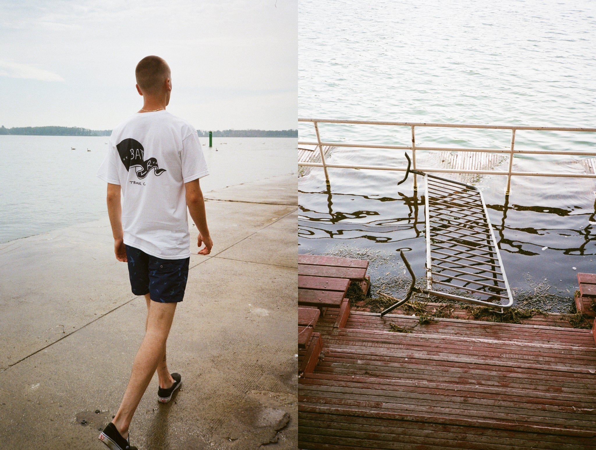 Exploring the Toronto Islands in Bather's Blue Bird Swim Trunks