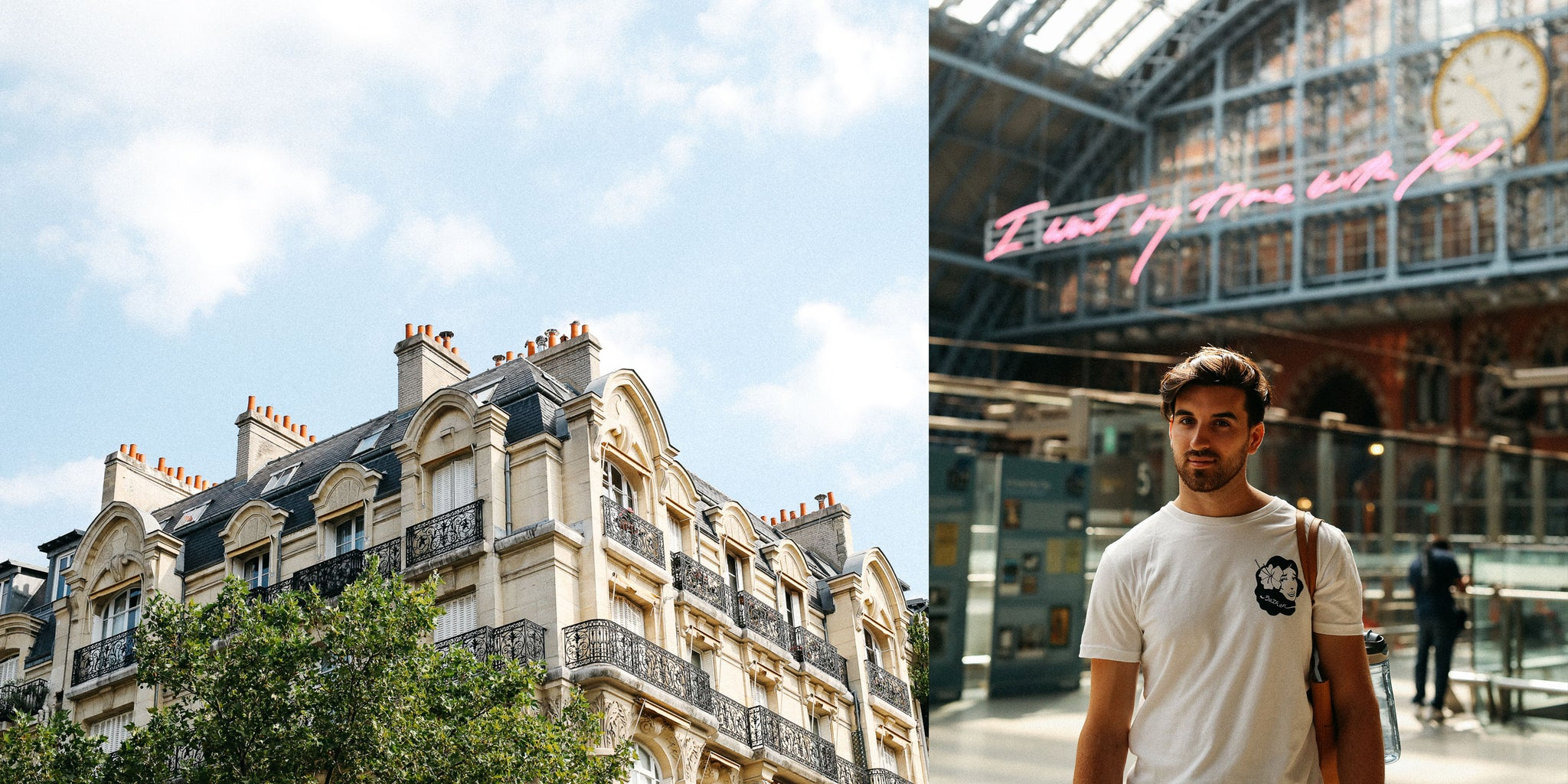 Bather's Excellent Adventures: Paris with Nicole Breanne and Lucas Young wearing Bather's White Hula Girl Shirt