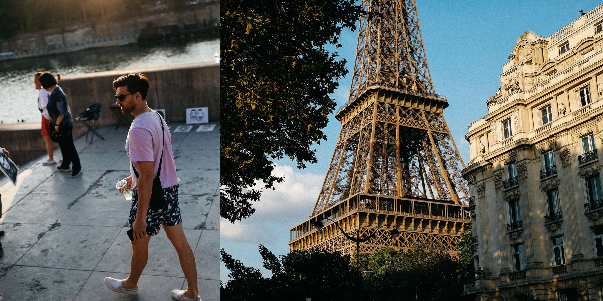 The Eiffel Tower in Paris by Nicole Breanne and Lucas Young wearing Bather's Navy Sail Swim Trunk
