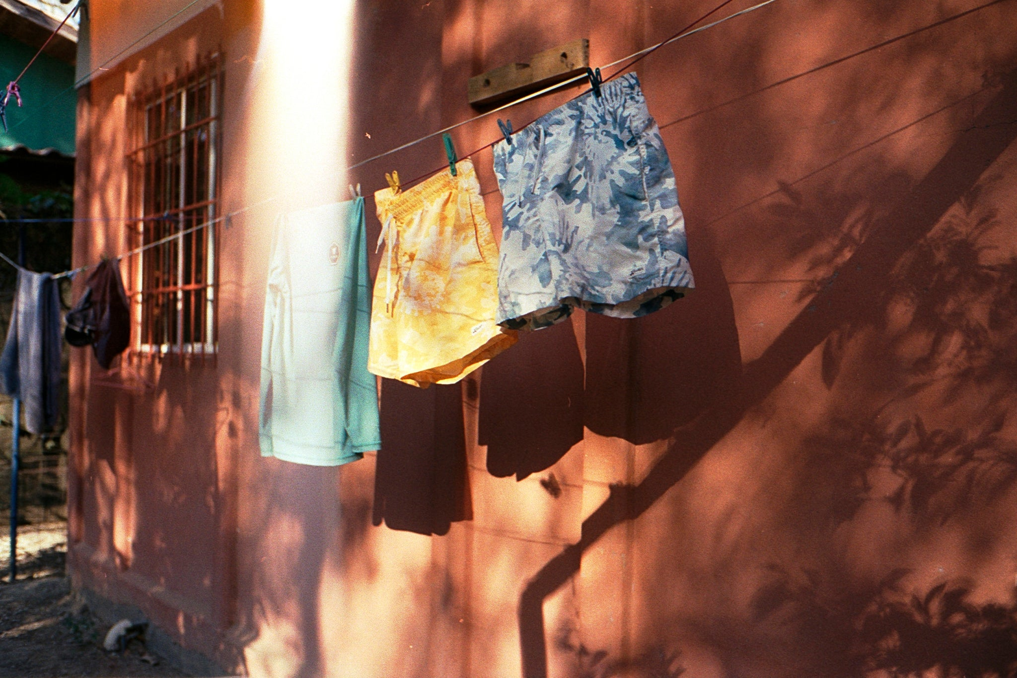 Bathers in Costa Rica — Yellow and Blue Tie Dye Swim Trunks