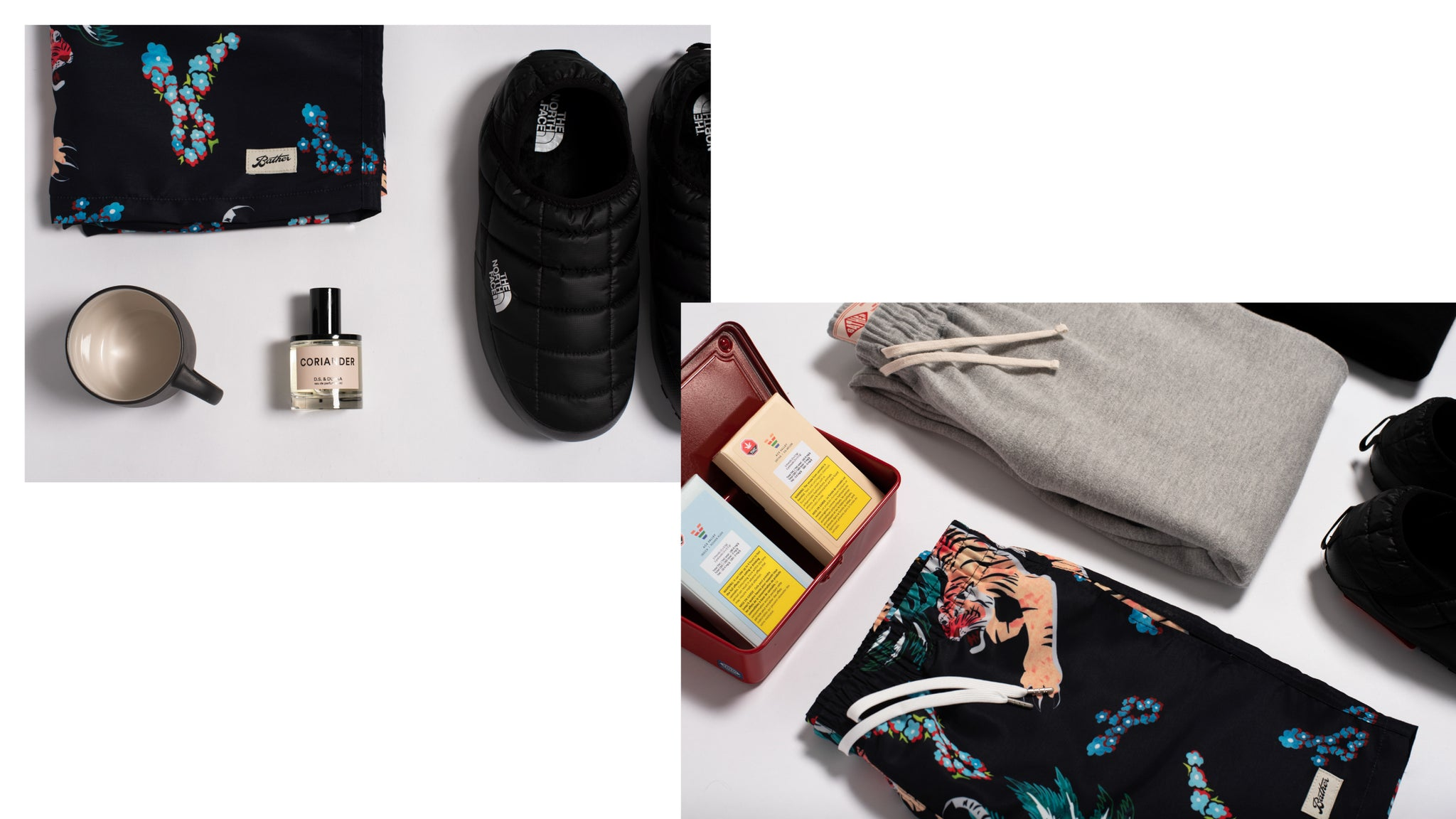 Photo collage of all of the products featured in our Hibernation Vacationer gift guide