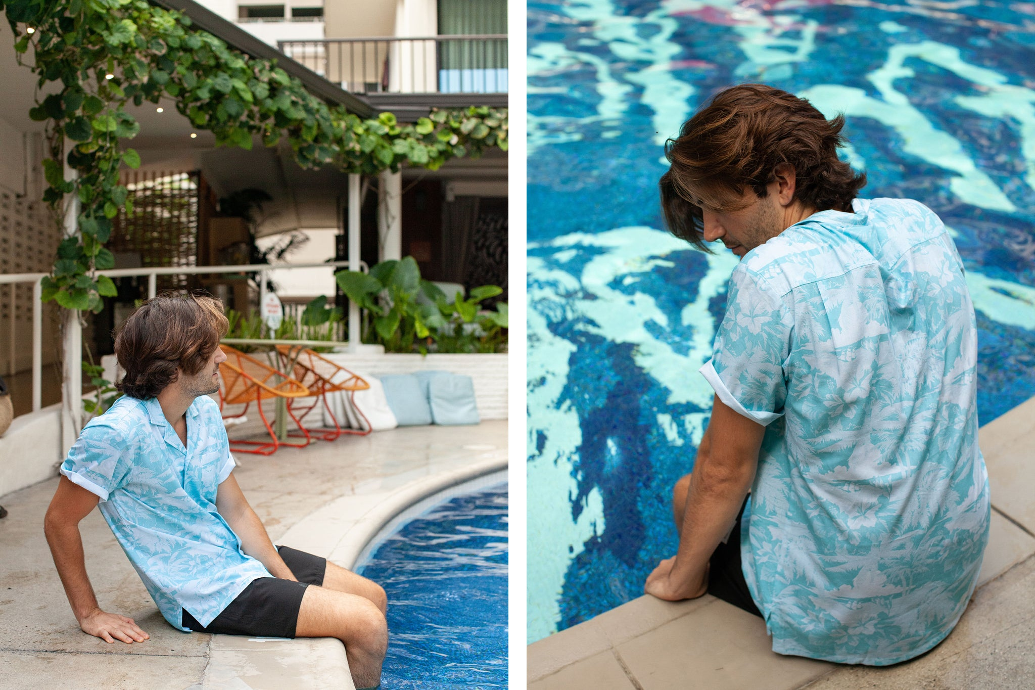 Man wearing blue resort shirt by a pool in Hawaii