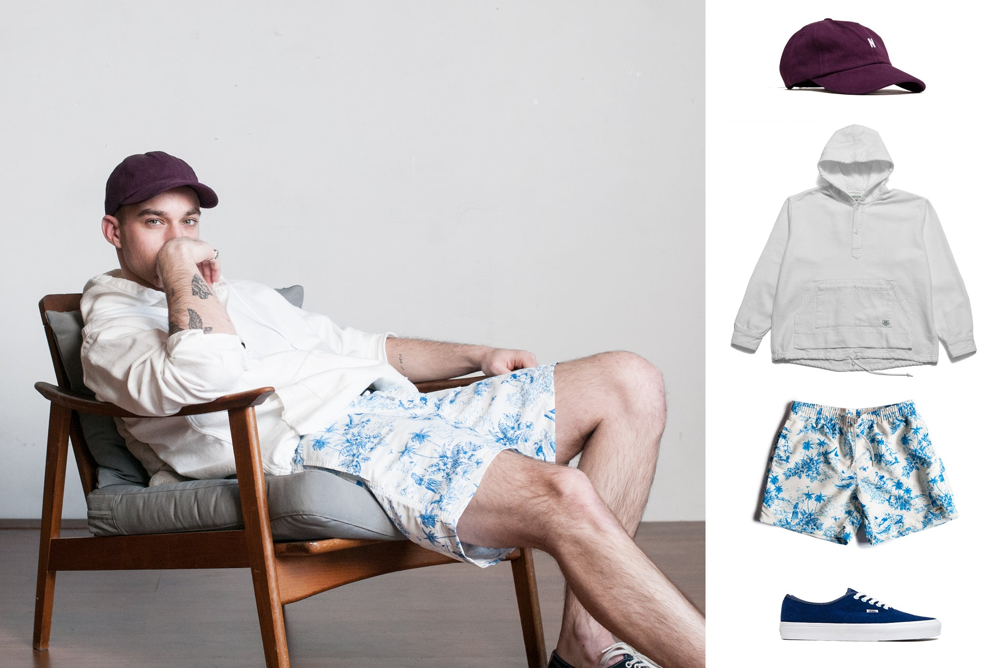 Bather SS19 Style Guide for Blue French Toile Swim Trunk