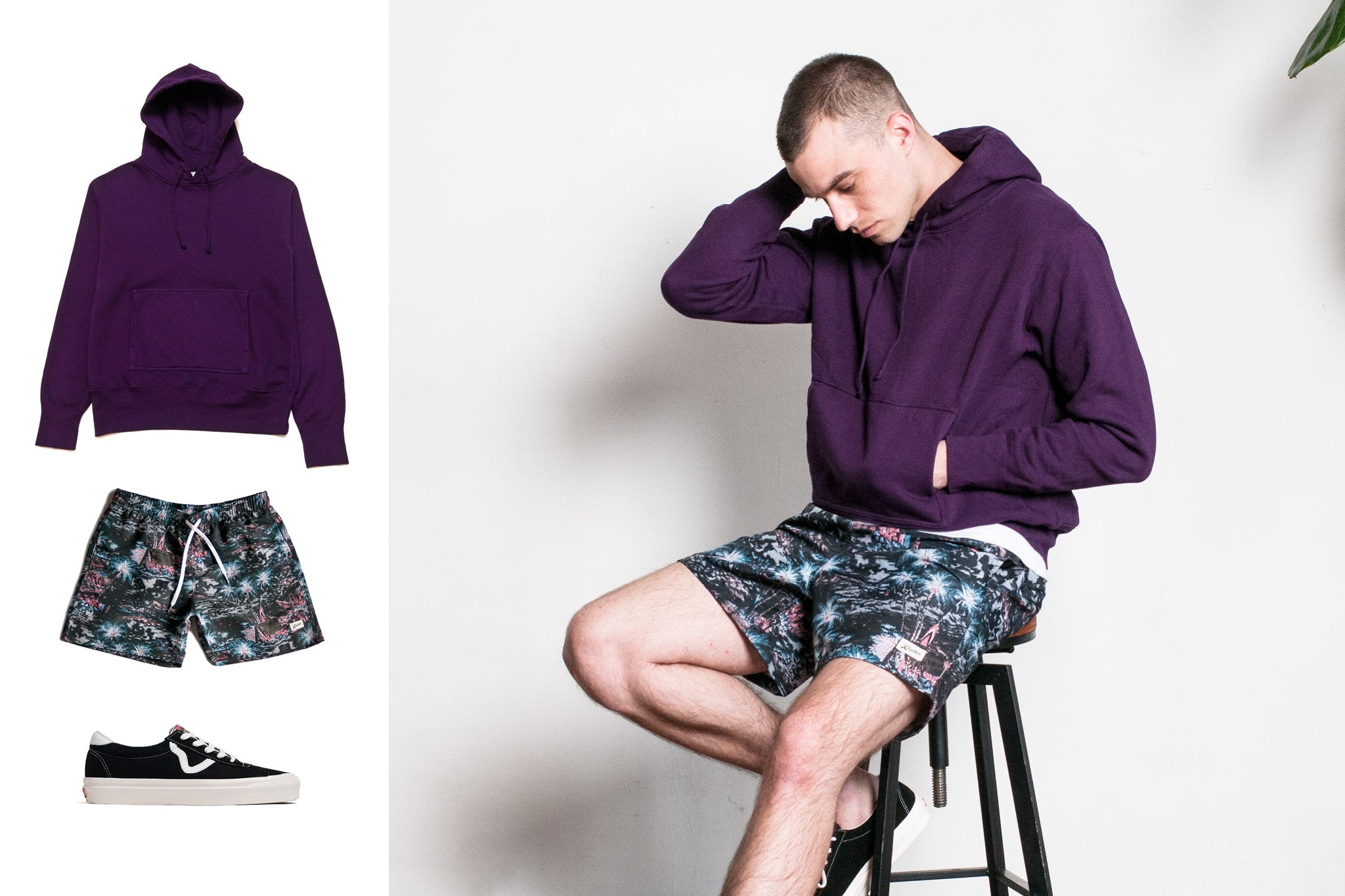 Bather's Midnight Hawaii Swim Trunk with hoodie and sneakers