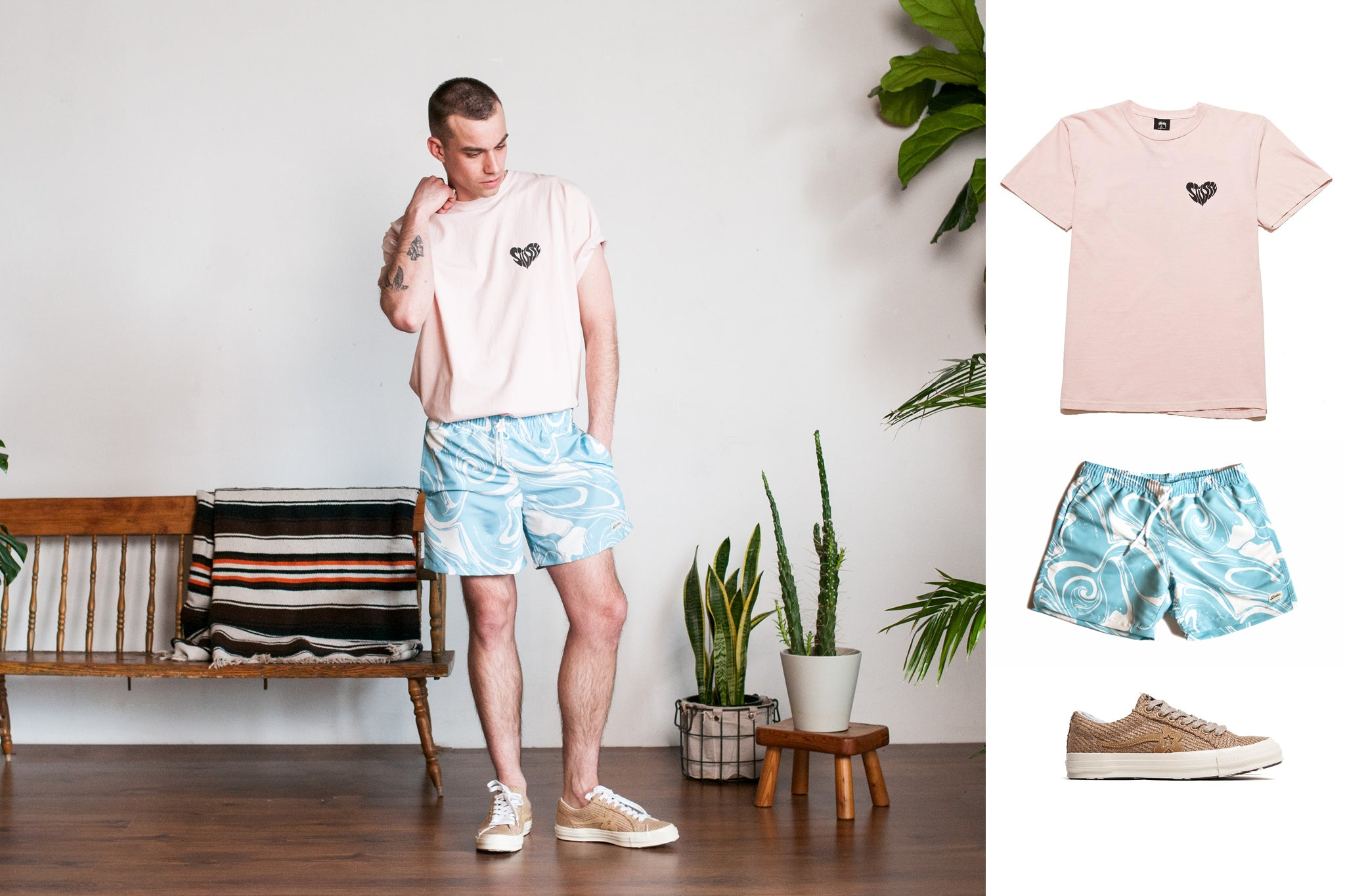 How to Style Bather featuring Stussy and Converse
