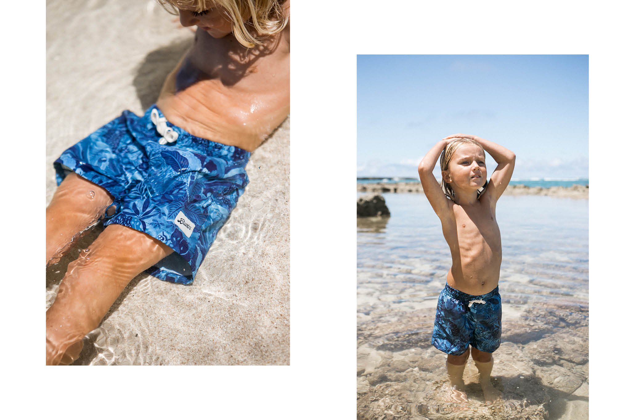 Bather Kids' Navy Watercolour Swim Trunk and kids swimming