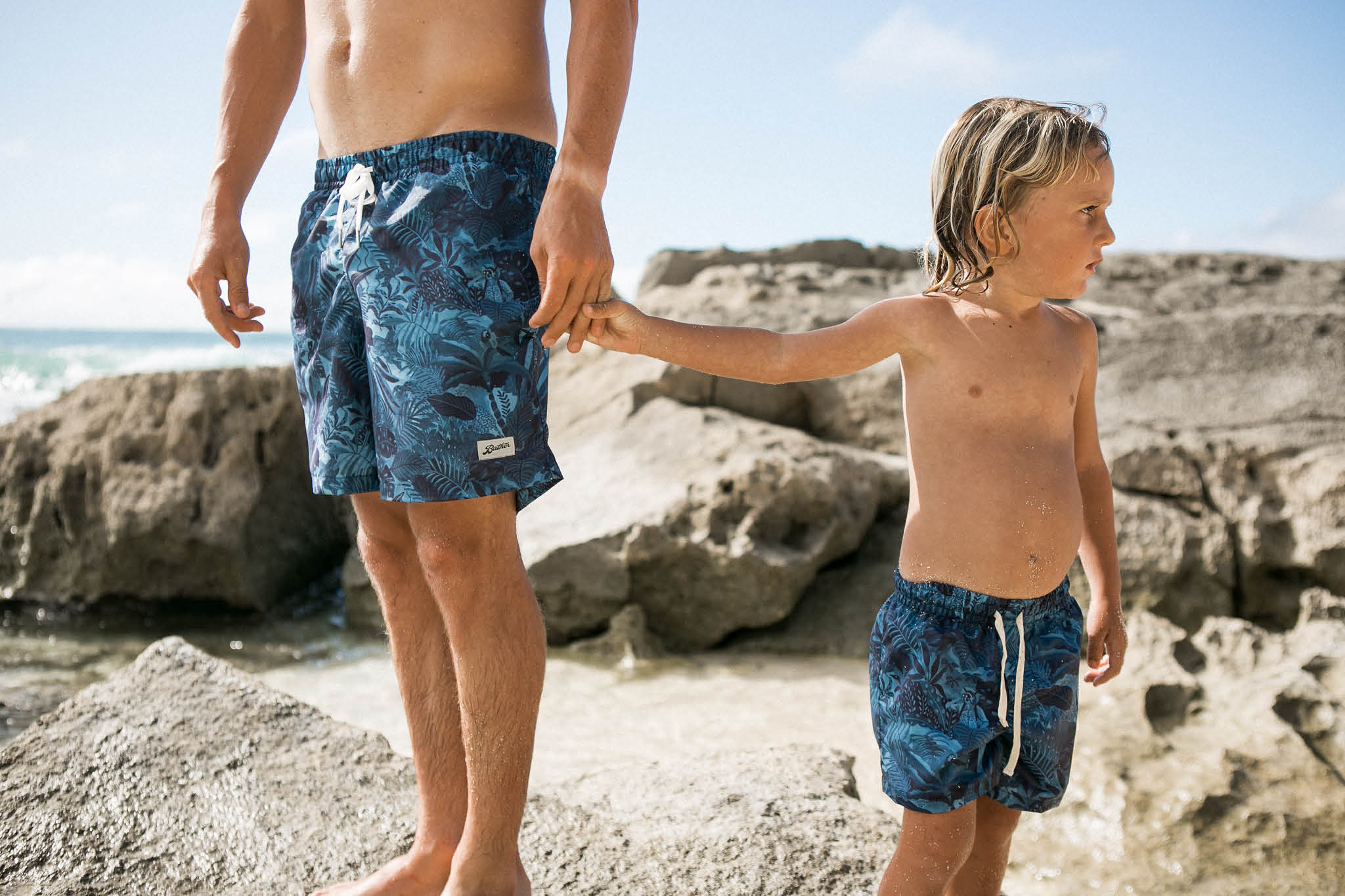 Matching Bather swim trunks for kids and adults