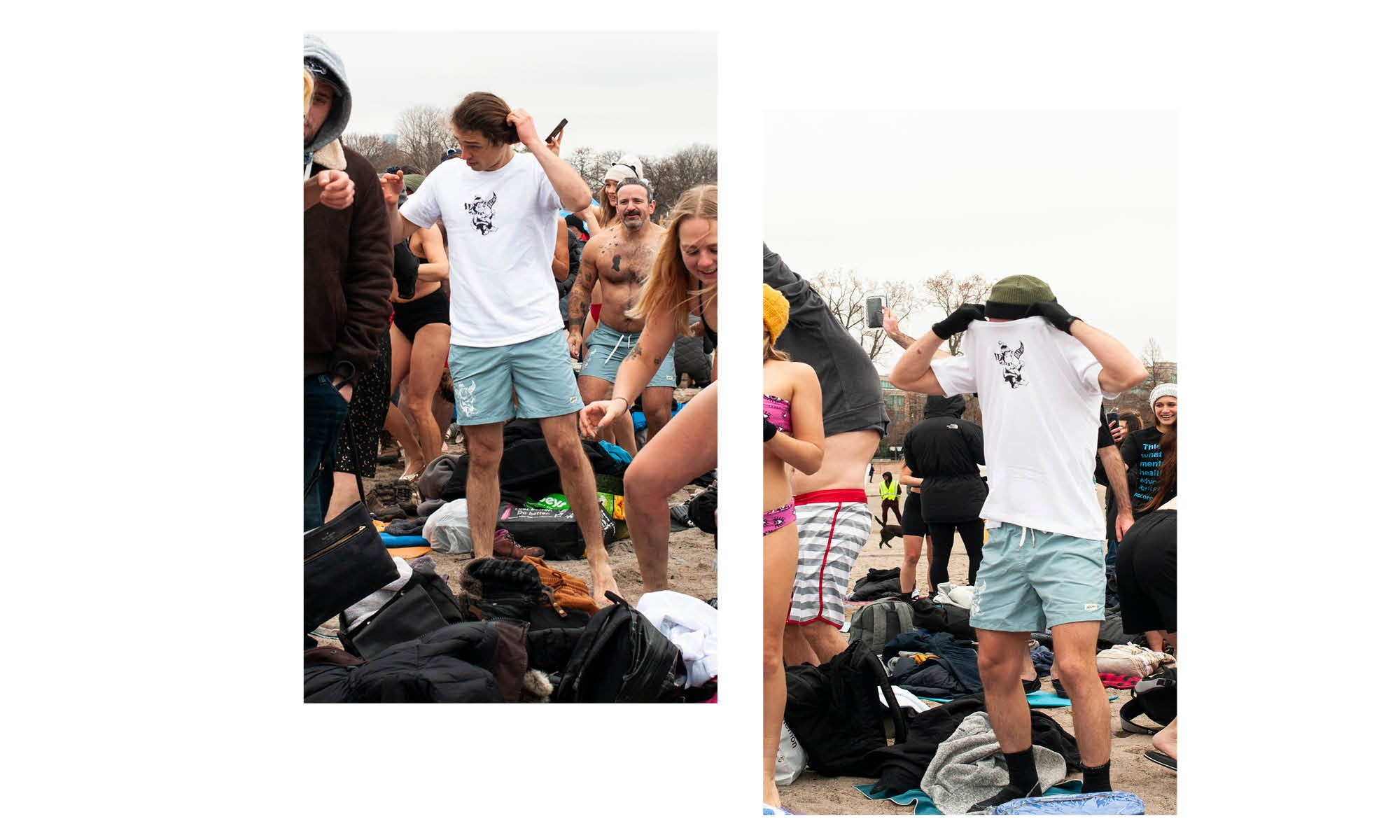 Bather t-shirt and swim trunks for the Polar Bear Dip