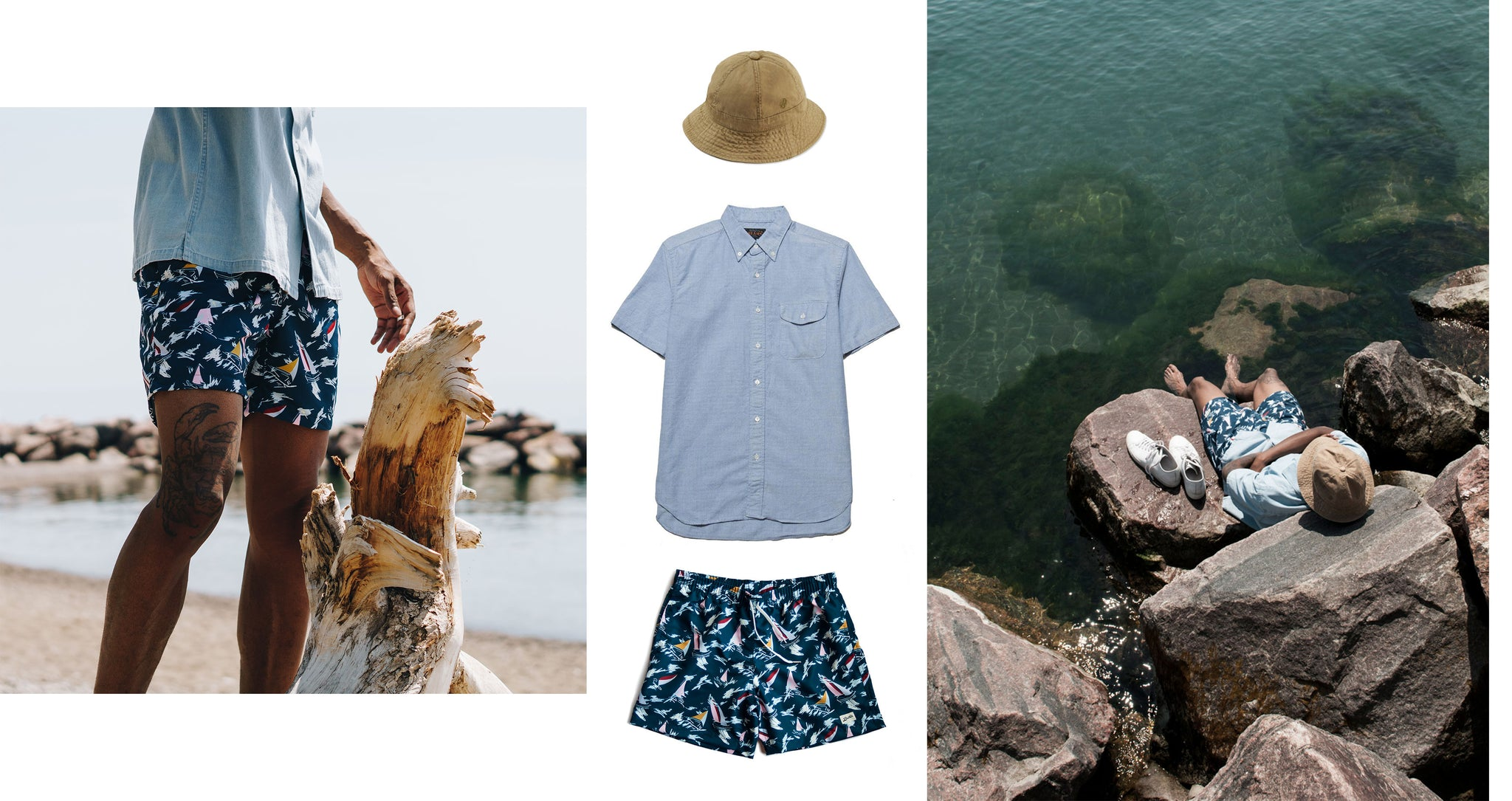 Bather — Outfit Inspiration — Navy Sail Swim Trunk