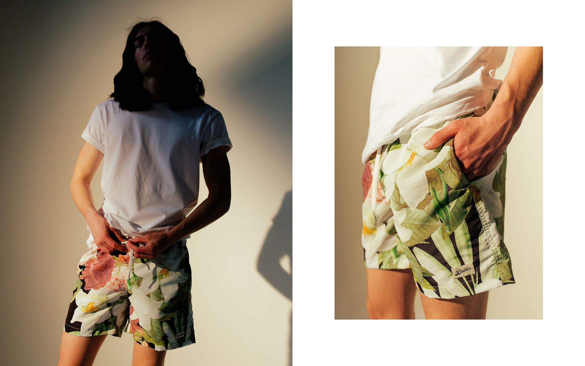 Bather SS18 Lookbook featuring the Bouquet Swim Trunk