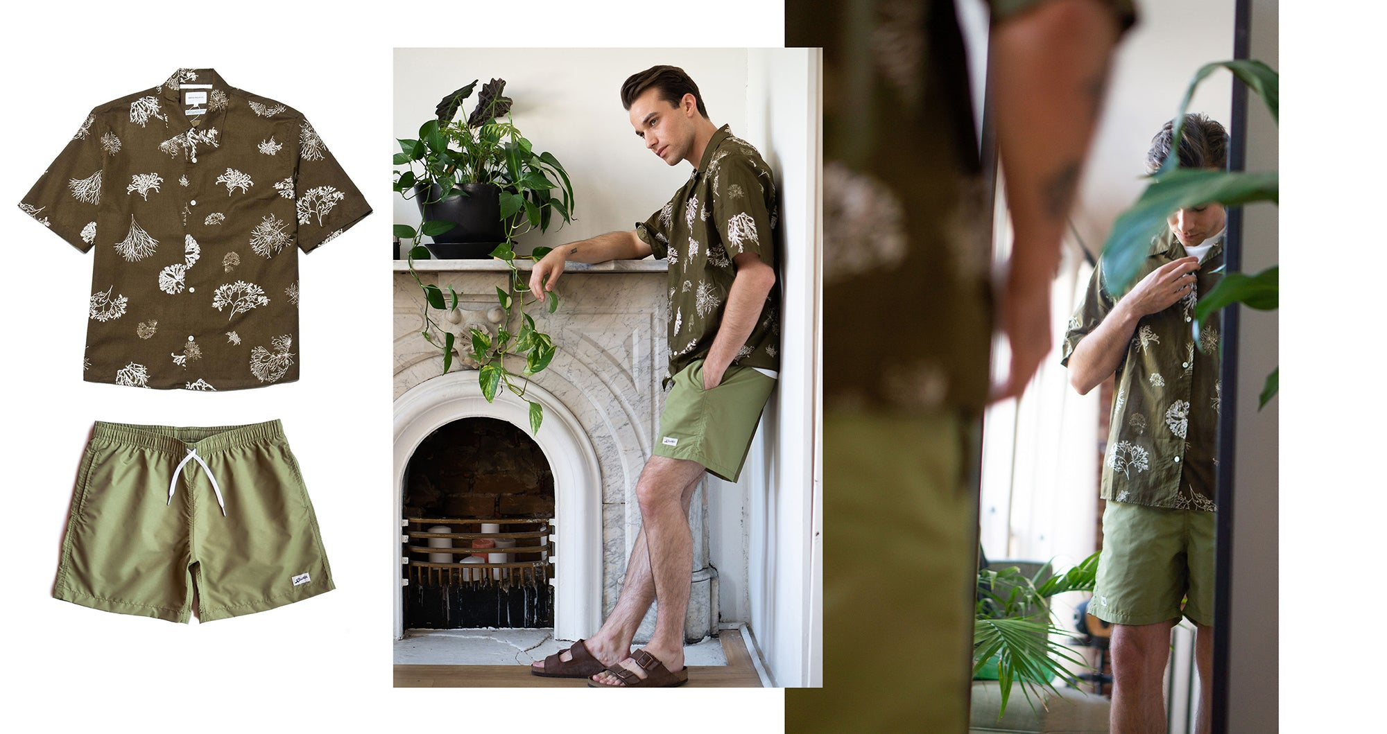 Bather Solid Olive Swim Trunk Outfit Inspiration