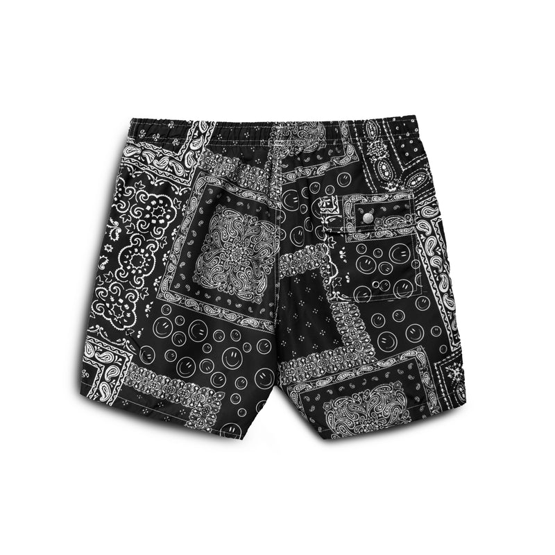Black Bandana Swim Trunk
