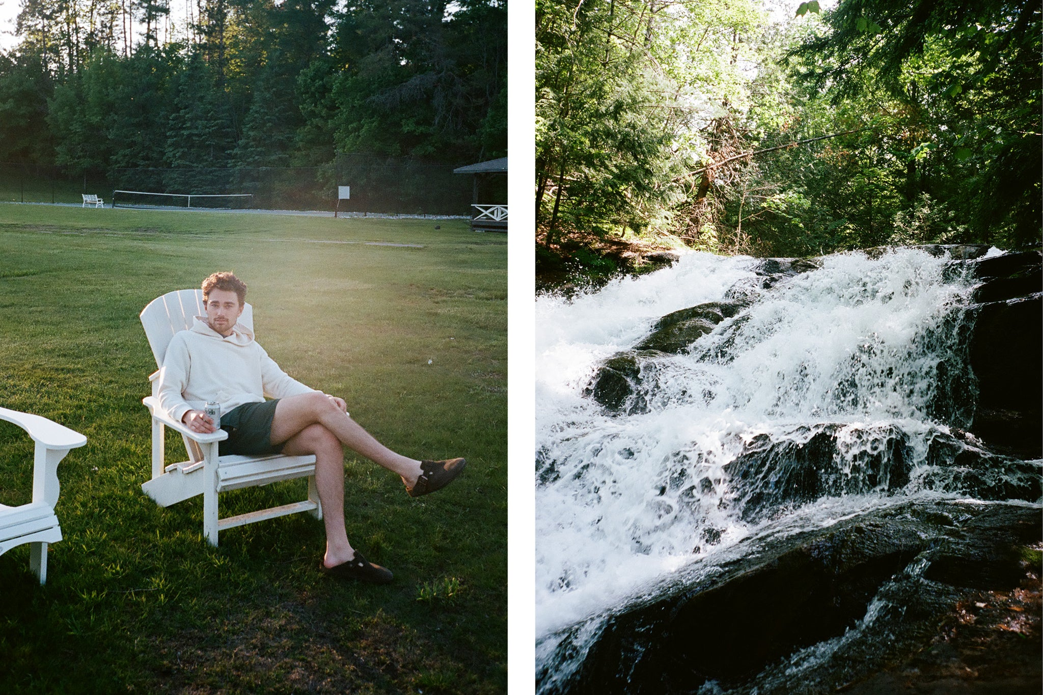 Man sitting on a Muskoka cottage chair, second image of a waterfall