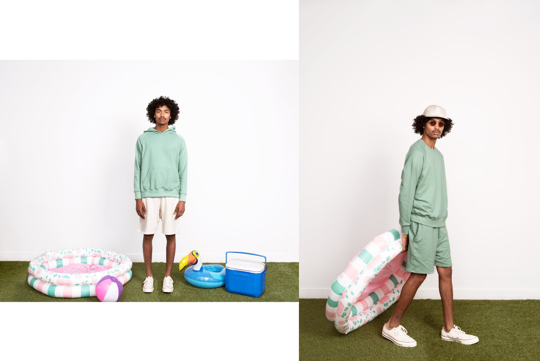 Photo of Bather Sea Foam Sweatsuit and Natural Shorts