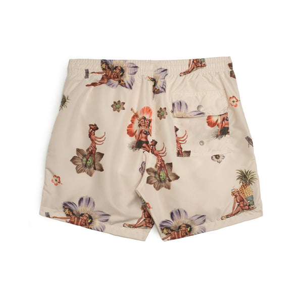 Beige Hula Girl Swim Trunk