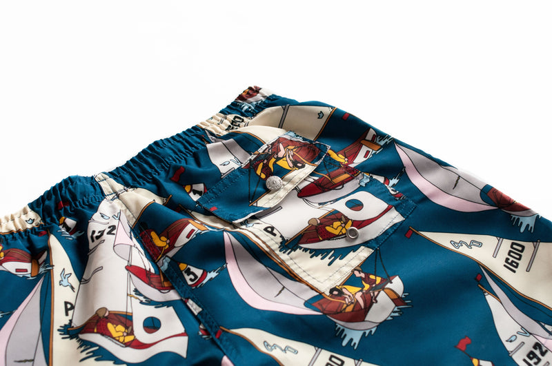 Bather men's swim trunks with a sail boat pattern