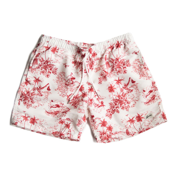 Red Toile Swim Trunk