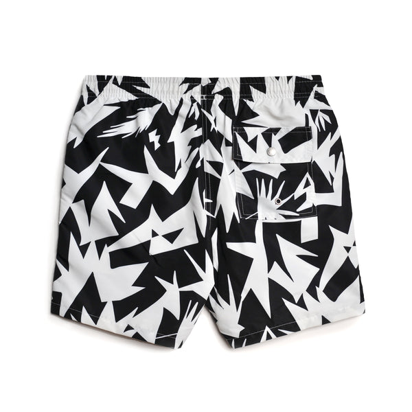 Black Abstract Swim Trunk
