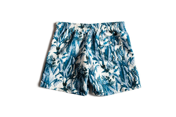 Bather men's swim trunk with tropical pattern
