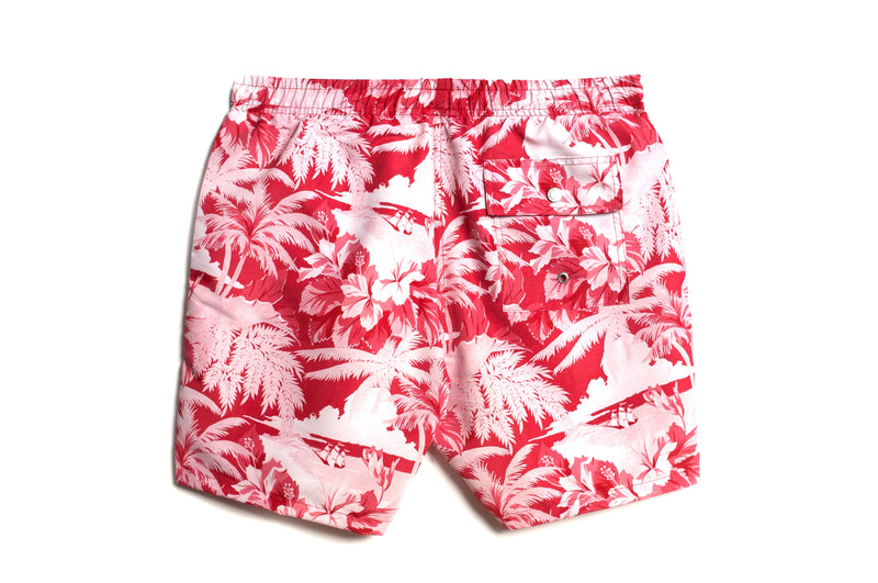 Red Aloha Swim Trunk