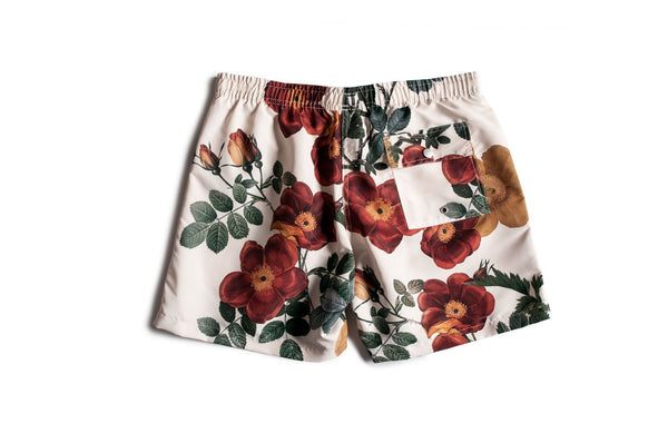 Bather men's swim trunks with floral pattern
