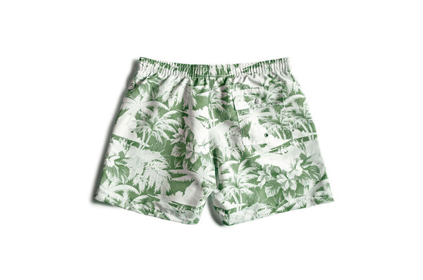Green Hawaiian pattern on Bather's men's swim trunks