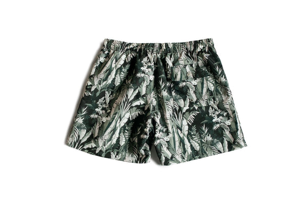 Bather men's swim trunks with a tropical forest pattern