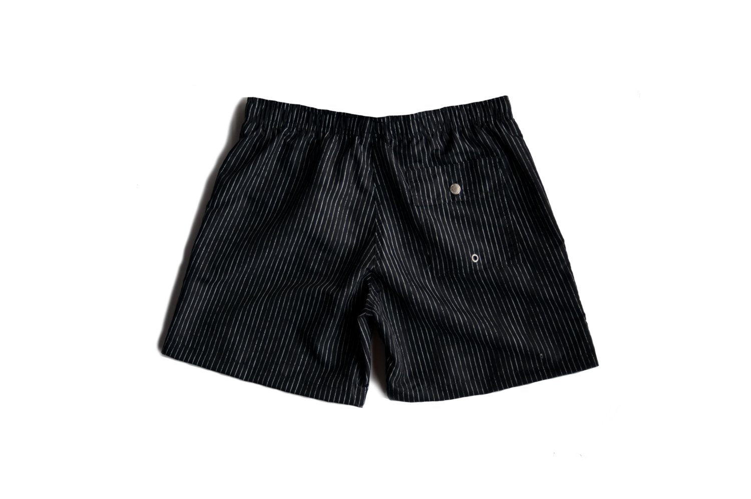 Black Pin Stripe Swim Trunk