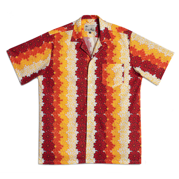 Orange Hawaiian Tropics Camp Shirt