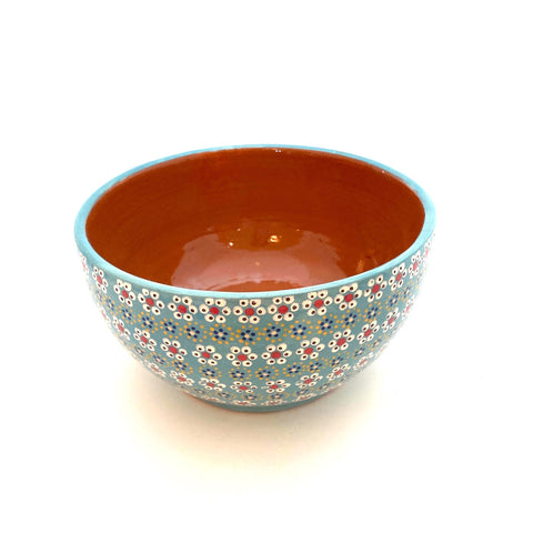 Handpainted Serving Bowl- Turquoise w/Flowers