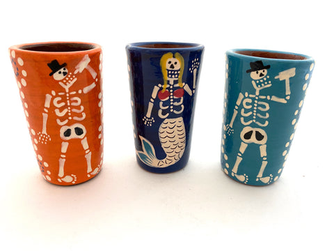 Skeleton Shot Glasses (Clay Tequila Cups)