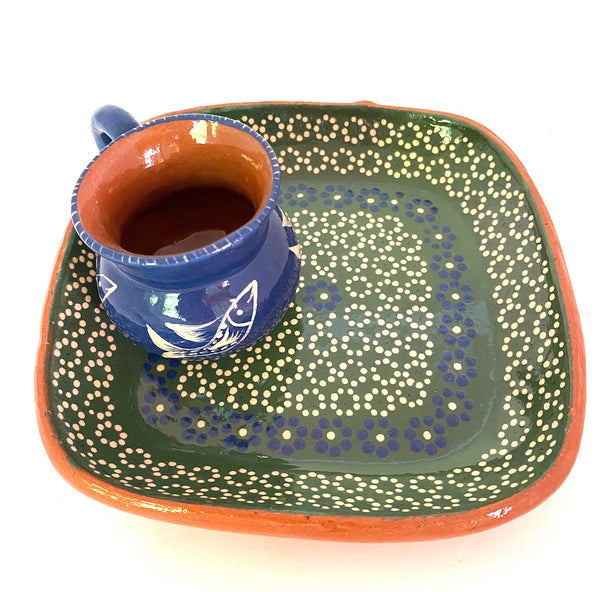 Handpainted Small Dishes w/Mezcal Cup