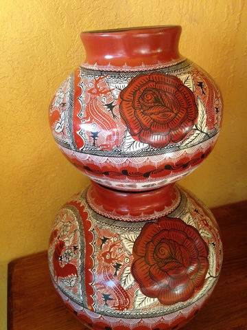 Tower of burnished clay pots by Great Master of Mexican Folk Art, Elena Felipe Felix of Huancito, Michoacán