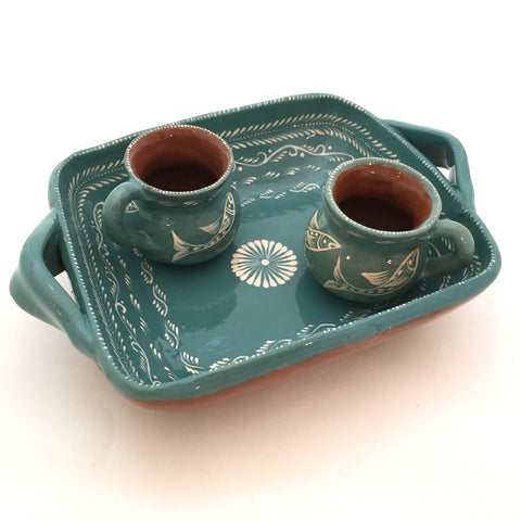 Handmade Serving Dish w/ Two Mezcal Cups