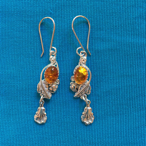 Silver Earrings- Navajo Leaf w/Amber